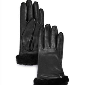 Ugg Shorty Shearling Black Leather & Wool Gloves
